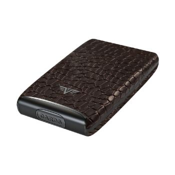 CREDIT CARD CASE FAN CROCO BROWN