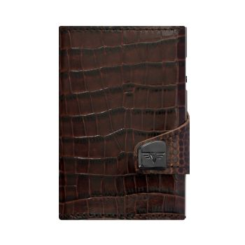 WALLET CLICK & SLIDE CROCO BROWN
